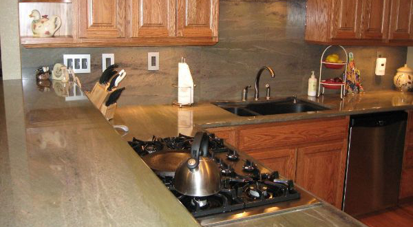 Two Level Kitchen Countertop and Backsplash